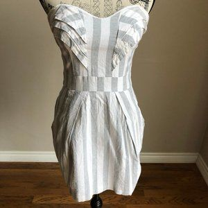 BCBGeneration White/Grey linen Strapless dress